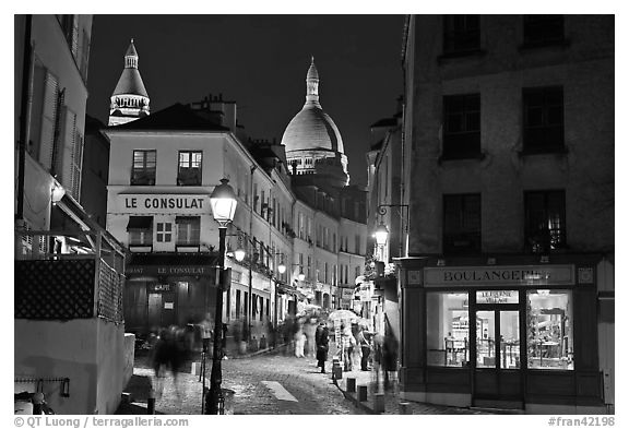 Black And White Picture Photo Night Street Scene Montmartre Paris France