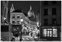Night street scene, Montmartre. Paris, France (black and white)