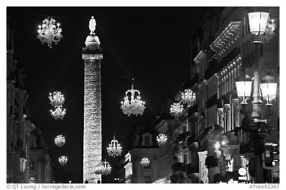 Christmas lights and Place Vendome column by night. Paris, France (black and white)