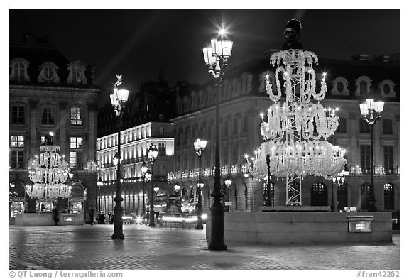 Christmas lights on  Place Vendome. Paris, France (black and white)