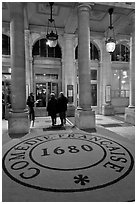 Entrance of Comedie Francaise. Paris, France (black and white)