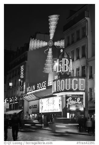 Black And White Picture Photo Moulin Rouge Red Mill