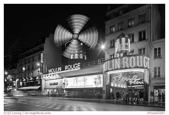 Windmill marking the Moulin Rouge Cabaret. Paris, France (black and white)