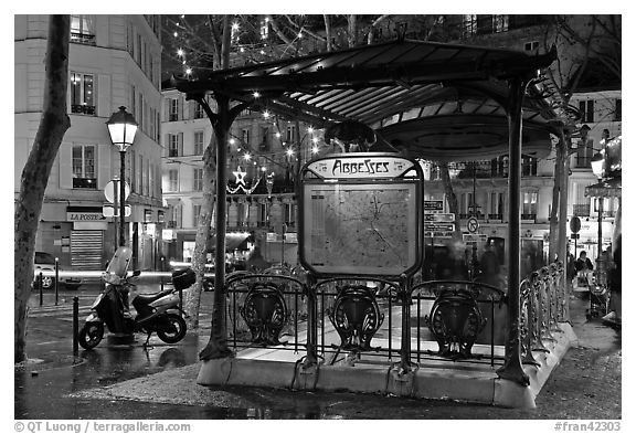 Subway entrance with art deco canopy by night. Paris, France (black and white)