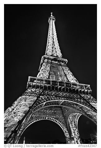 Black And White Picture Photo Illuminated Eiffel Tower Seen From Close Paris France