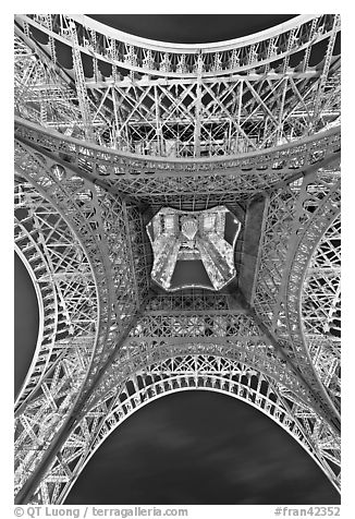 black and white picture photo eiffel tower structure from below paris france. Black Bedroom Furniture Sets. Home Design Ideas