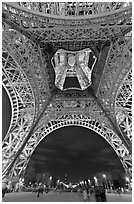 Eiffel Tower from below and Champs de Mars at night. Paris, France ( black and white)