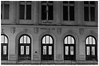 Main entrance of Sorbonne University. Quartier Latin, Paris, France (black and white)