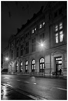 The Sorbonne by night. Quartier Latin, Paris, France (black and white)