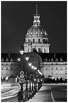 Street lights and Les Invalides by night. Paris, France (black and white)