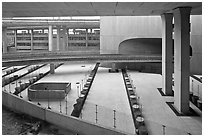 Concrete structures, Roissy Charles de Gaulle Airport. France (black and white)