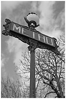 Metro sign and sky. Paris, France ( black and white)