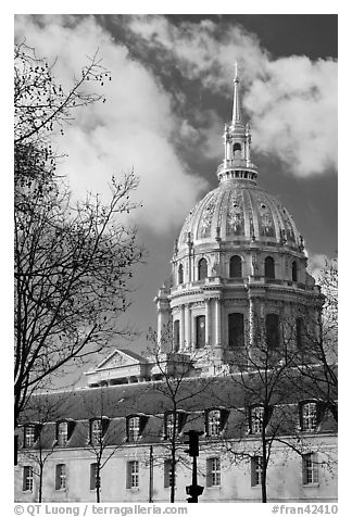 Ecole Militaire and Dome of the Invalides. Paris, France (black and white)
