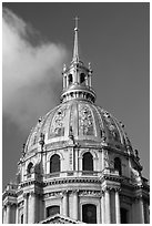 Baroque Dome Church of the Invalides. Paris, France (black and white)
