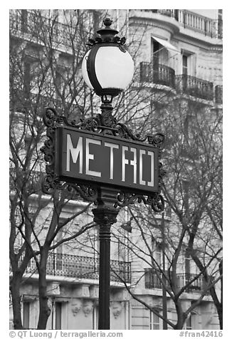 Metro sign. Paris, France (black and white)