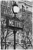 Metro sign. Paris, France ( black and white)