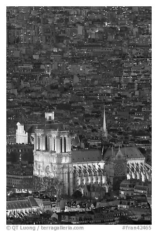 Aerial view of Notre-Dame de Paris Cathedral at night. Paris, France (black and white)