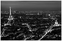 Aerial view at night with Eiffel Tower, Invalides, and Arc de Triomphe. Paris, France ( black and white)