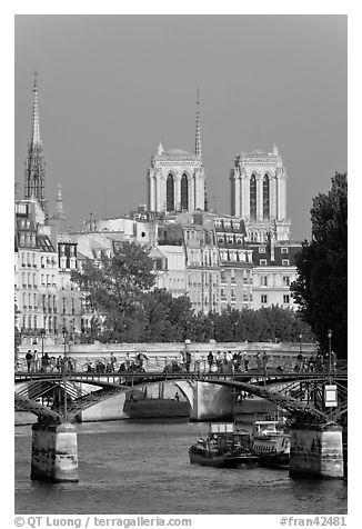 Passerelle des Arts and bell towers of Notre-Dame. Paris, France (black and white)