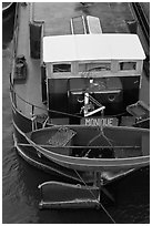 Reconverted peniche (barge). Paris, France ( black and white)