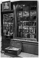 Shakespeare and Co storefront at night. Quartier Latin, Paris, France ( black and white)