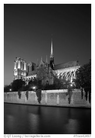 Notre Dame Cathedral and Seine River at twilight. Paris, France (black and white)