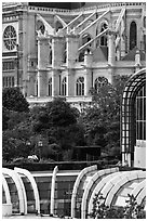 Detail of Forum des Halles and Saint-Eustache church. Paris, France (black and white)