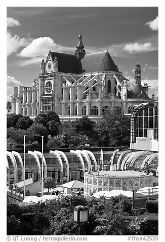Forum des Halles and historic Saint-Eustache church. Paris, France (black and white)