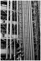 Exposed functional structural elements of Centre George Pompidou. Paris, France (black and white)