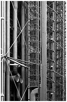 Color-coded pipes (climate,electrical,plumbing,circulation), Centre George Pompidou. Paris, France (black and white)