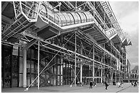 Beaubourg Center in the style of high-tech architecture. Paris, France (black and white)