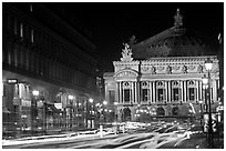 Opera (Palais Garnier) at night with lights. Paris, France ( black and white)