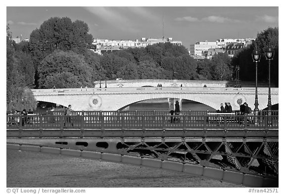 Steel and stone bridges over the Seine River. Paris, France (black and white)