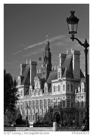 Street lamp and Hotel de Ville, afternoon. Paris, France