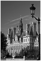 Street lamp and Hotel de Ville, afternoon. Paris, France (black and white)
