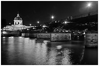 Institut de France, Pont des Arts and Seine reflections at night. Paris, France ( black and white)