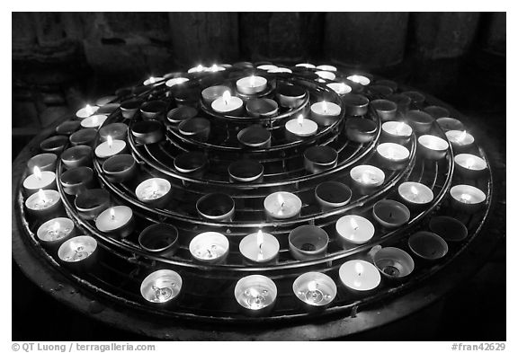 Circle of candles, Notre-Dame cathedral. Paris, France (black and white)