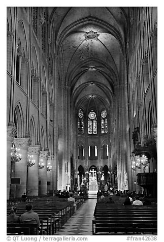 Nave during mass, Notre-Dame. Paris, France (black and white)