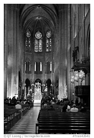 View of Choir during Mass, Notre-Dame. Paris, France (black and white)