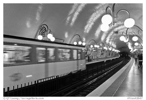 Subway train and station. Paris, France (black and white)