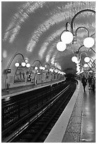 Glistening metro station. Paris, France ( black and white)