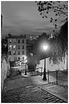 Hillside stairs, street lights, and Eiffel Tower in the distance, Montmartre. Paris, France (black and white)