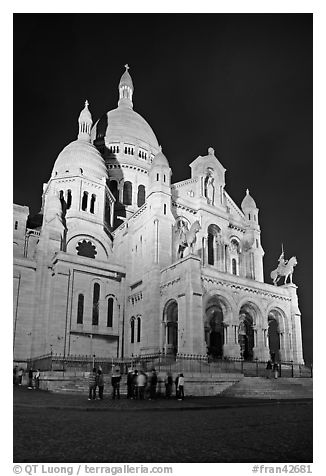 Basilica of the Sacre-Coeur (Basilica of the Sacred Heart) at night, Montmartre. Paris, France (black and white)