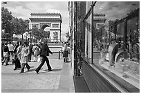 Jewelry store, sidewalk, and Arc de Triomphe. Paris, France (black and white)