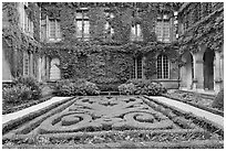 Formal garden in courtyard of hotel particulier. Paris, France (black and white)
