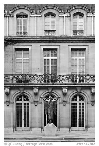 Facade of hotel particulier. Paris, France (black and white)