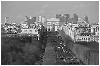 Aerial view of Champs-Elysees, Arc de Triomphe, and La Defense. Paris, France (black and white)