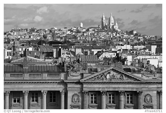 Classical building, Rooftops and Butte Montmartre. Paris, France (black and white)
