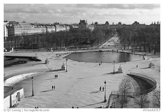 Tuileries garden in winter from above. Paris, France (black and white)