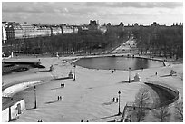 Tuileries garden in winter from above. Paris, France ( black and white)